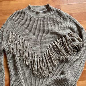 Boho fringe knit sweater